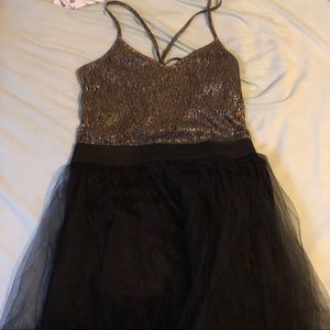 Charlotte Russe Gold and Black Tulle Party Dress